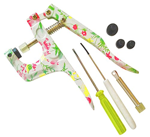 KAMsnaps Snap Press Hand Pliers Setting Tool for KAM Snaps Plastic Buttons Fasteners (Floral - Buttons Metal Plastic