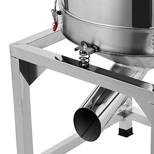 Happibuy Automatic Powder Sifter Shaker Machine 110V 300W Flour Sieve Machine Stainless Steel 2 Screens Industrial (Silver) by Happibuy (Image #5)