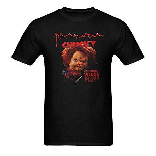 ZIFENG Men's Chucky Doll Short Sleeve T Shirts Black 3XL -