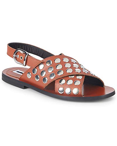 McQ Alexander McQueen Metallic Leather Slingback Sandals, 36