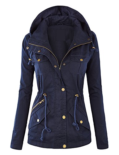 Lock and Love WJC643 Womens Pop of Color Parka Jacket XXL Navy (Pop Top Jacket)