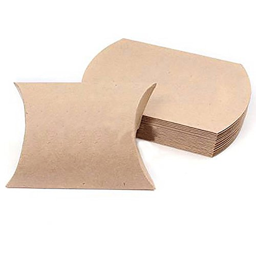 Pack of 100Pcs Kraft Paper Pillow Wrapping Candy Box Wedding Packing Sugar Box Gift Party Supply