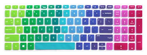 "Silicone Keyboard Skin for 15.6"" HP Pavilion X360 15-br075nr, HP Envy x360 15m-bp 15m-bq, HP Spectre x360 15-ch011dx, HP Pavilion 15-cb 15-cc 15-cd 15-bw 15-bs & 17.3"" HP 17m-ae 17-bs Series - Rainbow"