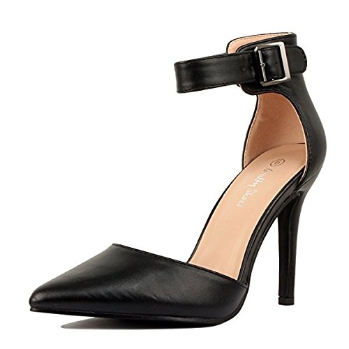 ShoBeautiful Women's Ankle Strap Stiletto Pumps Pointed Toe Dress D'Orsay High Heel Summer Wedding PU Shoes Black 8.5