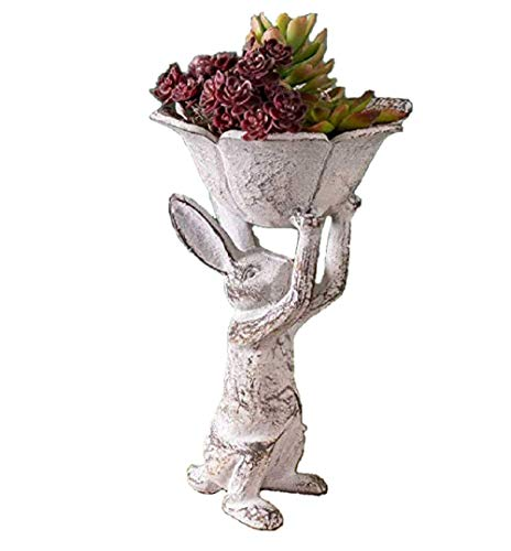 Distressed Antique White Cast Iron Rabbit with Flower Bird Feeder ()