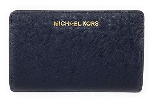 Michael Kors Jet Set Travel Slim Bifold Saffinao Leather Wallet ()