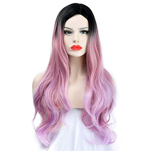 SEIKEA 30'' Long Wavy Wig Cosplay Costume Part Side for Women Black Root Natural Hair Night Party Makeup - Smoky Pink with Highlight