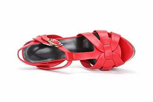 Charm Sandalo Donna Sexy Tacco Alto A Punta Tacco Piattaforma T Cinturino Rosso