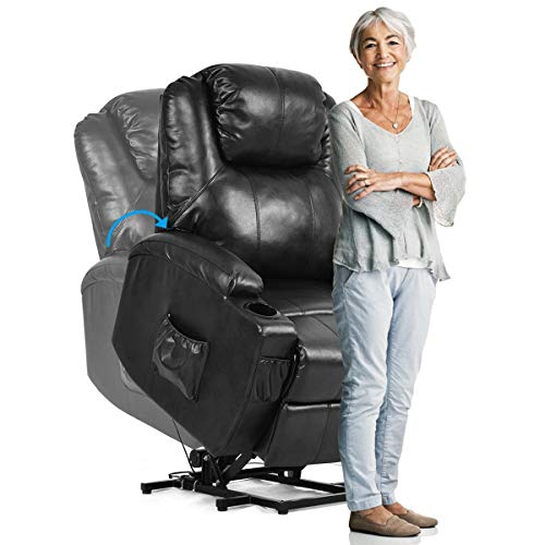 The Best Electric Power Lift Chair Recliner w/Remote & Cup Holder Massage Spa Large Armchairs Leather Black Color ()