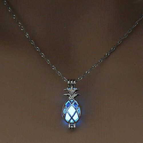 Necklace Opeof Hollow Pineapple Luminous Pendant Cage Chain Necklace Party Women Jewelry Gift - Sky Blue