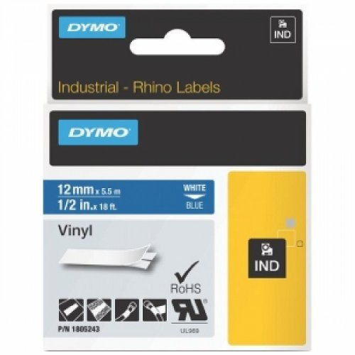 Dymo 1805243 Rhino Coloured Vinyl - Vinyl tape - white on blue - Roll (0.5 in x 18 ft) - 1 roll(s) - for DYMO ILP219, Rhino 1000, 4200, 5000, (Dymo Rhinopro Tape Cartridge)