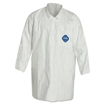 Tyvek – Bata de laboratorio, color blanco, Botones, 2 bolsillos, tamaño mediano