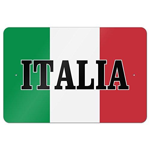 Italian Flag Sign - Italia Italy Italian Flag Home Business Office Sign - Metal - 18