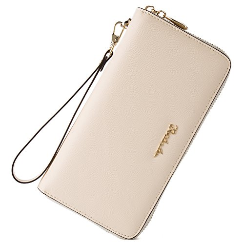 BOSTANTEN Women Leather Wallet Clutch Bag Card Case Cash Holder Wallets Beige