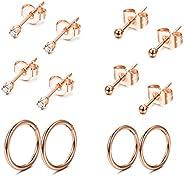 FIBO STEEL Stainless Steel Cartilage Earrings for Men Women Ball CZ Stud Earrings Helix Conch Daith Piercing J