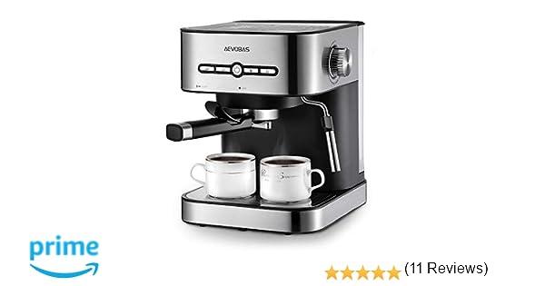 AEVOBAS Cafetera Espresso 15 Bares, Cafetera Cappuccino y Latte, Boquilla de Espuma de Leche Profesional | 1.5 L Tanque de Agua | Calentamiento Rápido | 2 ...