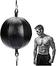 Speed Punch Bag Leather Speed Ball Hanging Boxing Punching Ball, Double End Ball with Boxing Reflex Ball and P