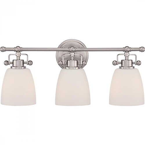 well-wreapped Vaxcel USA STVLD003BN Stockholm 3 Light Bathroom Vanity Lighting Fixture in Nickel, Glass