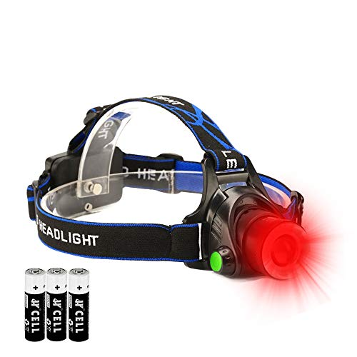 Hunting Red Light Headlamp Zoomable LED Headlight with 3 Lighting Mode and Water Resistant for Running Camping Hiking - Lamp Diffused Reflector