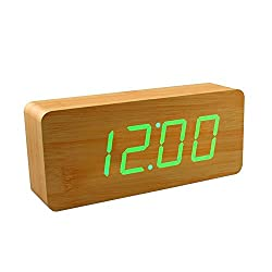 Smart Wooden Digital Alarm Clock, SHOULDBUY 8-Inches Sound Control With Time Temperature (Bamboo-Green LED)