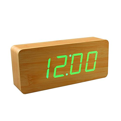 Smart Wooden Digital Alarm Clock, SHOULDBUY 8-Inches Sound Control With Time Temperature (Bamboo-Green LED) by shouldbuy (Image #1)