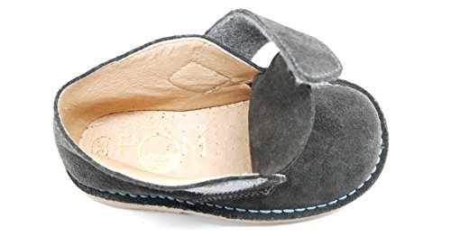 POM Shoes Madrid Mini Gray & Blue Velcro Boots with Leather Lining and Blue Accents 27 EU (8 M US Toddler) by POM Shoes (Image #7)