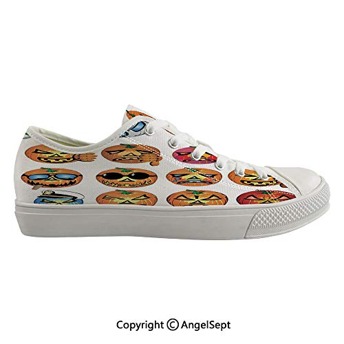 Durable Anti-Slip Sole Washable Canvas Shoes 14.17inch Carved Pumpkin with Emoji Faces Halloween Humor Hipster Monsters Art,Orange Flexible and Soft Nice Gift