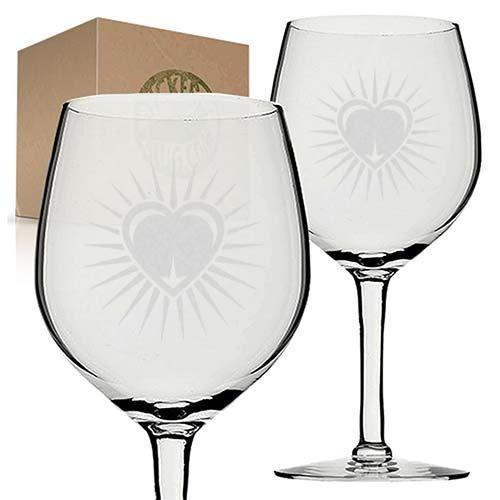 Christian Heart Etched Engraved Wine Glass set gift for wedding graduation by Stickerslug