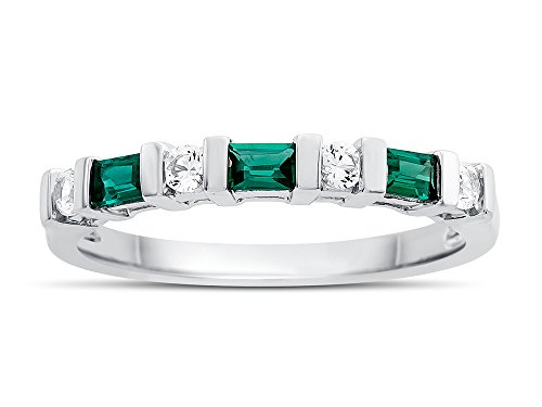 Finejewelers 3x2mm Baguette Created Emerald and Created White Sapphire Band Ring Sterling Silver Size -