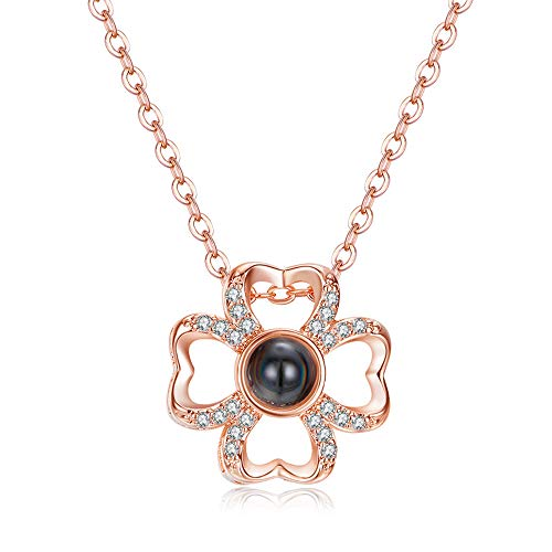 I Love You Flower Pendant Necklace, Rose Gold Crystal 100 Languages Mother's Day Leaf Clover Pendant Necklace for -