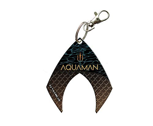 Aquaman Keychain - Trident Shield Logo Shaped Acyrlic - Fused Image Officially Licensed