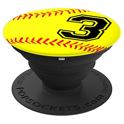 Softball Jersey Number #3 Three No 3 Game Play Fun Uniform - PopSockets Grip and Stand for Phones and - Uniforms Three