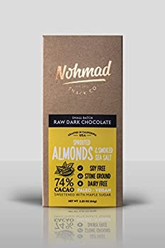 Nohmad Snack Co - Raw Dark Chocolate - Sprouted Almond & Smoked Sea Salt - 74% Cacao - Paleo & Vegan friendly (2 pack)