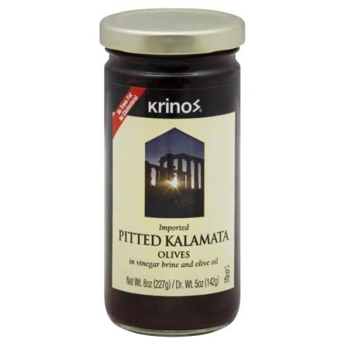 Krinos Pitted Kalamata Olives In Vinegar Brine And Olive Oil 8 oz - Pack of 6 ()