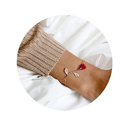 CHOA 3D Rose Bracelet,Charm Gold Silver Personalized Rose Pendant Bracelet for Women Girls (red Rose Rose Gold) ()