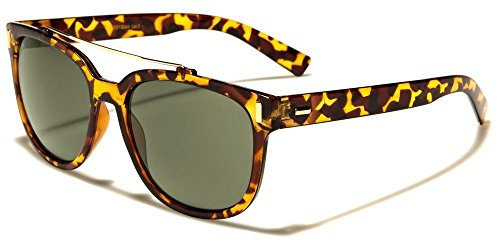 Tortoiseshell Green Lens Classic Style Metal Top Bar Women Men Fashion - Glasses Tortoiseshell Dark