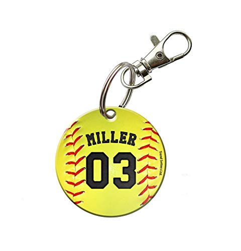 Trend Setters Ltd. - Softball Keychain - Personalized -Acrylic Keychain - Fused Image -