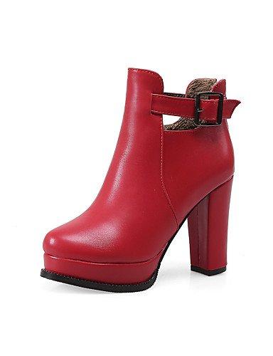 XZZ  Damen-Stiefel-Büro   Lässig-PU-Blockabsatz-Absätze     Rundeschuh-Schwarz   Rot   Weiß B01KPZXXV2 Sport- & Outdoorschuhe Moderner Modus f68b22