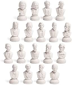 """Set of 18 Halbe SMALL Music Composers Statues Statuettes 3 1/2"""""""