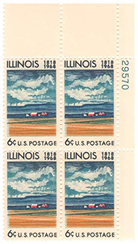 US 1968 6-Cent Illinois Statehood Plate Block of 4 Postage Stamps, Catalog No 1339