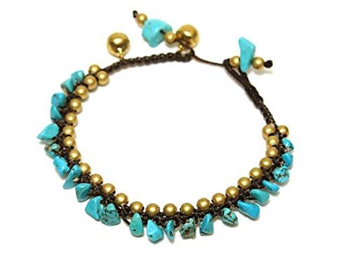 Women's Vibrant Gypsy Costumes (Blue Howlite Stone Brass Beads Exotic Style Handmade Bracelet Fashion Jewelry)