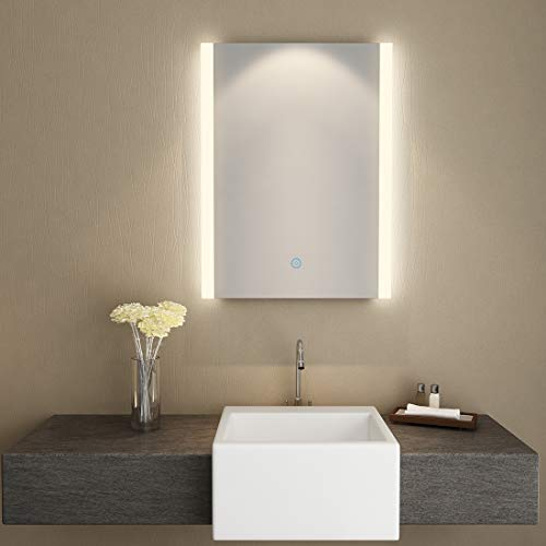 SUNNY SHOWER Backlit Led Mirror for Bathroom Wall Mounted Vanity Mirror with -