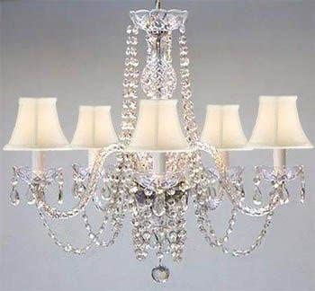 Chandelier Made with Swarovski Crystal Authentic All Crystal Chandelier and White Shades H25 W24