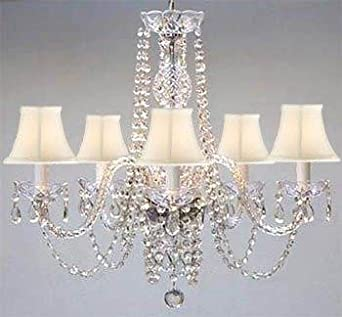 New Authentic ALL Crystal Chandelier with White Shades