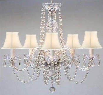 Swarovski Crystal Trimmed Chandelier! Authentic All Crystal Chandelier And White Shades H25 W24