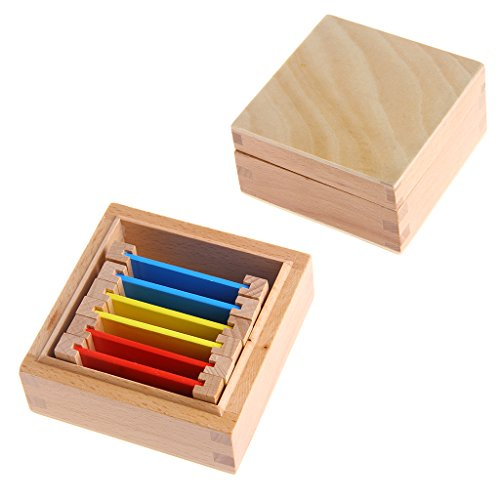 UJuly Montessori Sensorial Material Learning Color Tablet Box 1/2/3 Wood Preschool Toy Education Improve Toys (Box 1)