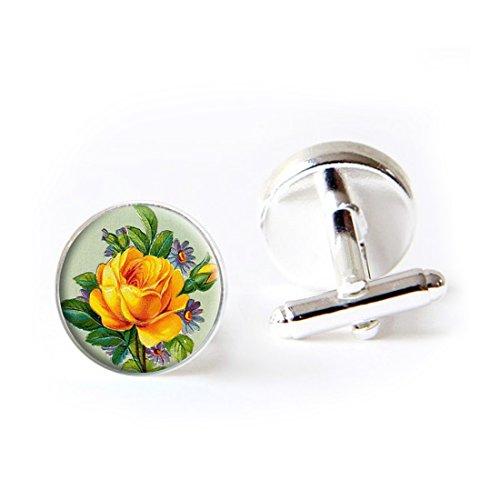 (LooPoP Round Cufflink Set One Yellow Rose Flower Cufflinks for Men's Accessories Shirts Business Wedding)