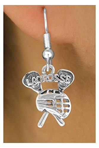Lacrosse Earrings with one of a kind 'Lacrosse' With Sticks & Goalie Helmet Charm - in Surgical Steel Fishhook