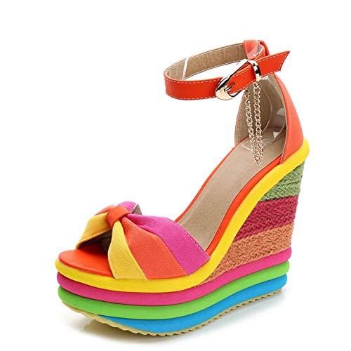 SaraIris Sandals for Women Gladiator Ankle Strap High Heel Platform Shoes Wedge Rainbow Sandals for ()