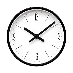 COMODO CASA Wall & Desk Clock- Metal Black Frame-Glass Cover-Non Ticking-Quartz Sweep-Silent 6 inch Retro Clock,White Type D